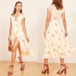 REFORMATION Carina Ylw Floral Wrap Dress NWT Med